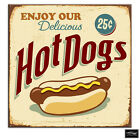 Shabby Chic Hot dogs  Vintage BOX FRAMED CANVAS ART Picture HDR 280gsm