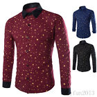 Korean Fashion Mens Casual Shirts Long Sleeve Star Polka Dot Dress Shirts New