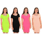 Womens Neon Off Shoulder Scallop Cut Out Hem Knee Length Bodycon Dress