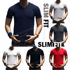 Men's V-Neck Plain T-Shirt Slim Fit Muscle Tee Casual Solid Basic S-3XL Cotton image