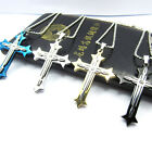 Men's Stainless Steel Silver Black Gold Blue Cross Pendant Necklace wwwfashion