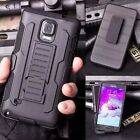 Black Rugged Holster Hard Case Cover With Fold Stand Belt Clip For Cell Phones