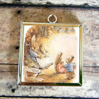 2X PETER RABBIT Potter Art Glass Charm Pendant Necklace
