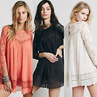 Loose Fit Plus Size Crochet Lace Women Crinkled Tunic Embroided Top Shirt Blouse