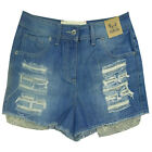 Womens Denim Shorts Zoe Bellfield New Ladies Casual Distressed High Waist Pants