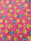 "Owl Print Fabric - 100% Cotton - 56""/142cm Wide - Chilrens - Pink Background"