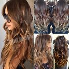 100% Real Thick Clip In Hair Extensions Long Curly Straight Hair 5 Ombre Colors