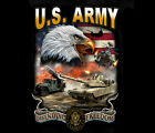 US Army Strong Screaming Eagle BLACK Adult T-shirt