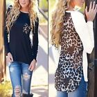 1x Women Sexy Leopard Long Sleeve Loose Casual Pullover T-Shirt Tops Blouse FKS