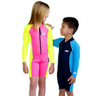 Girls Boys Rash Suit Rashie Long Sleeve Bathers Swimwear 1 Piece Swimsuit Sz 2-8