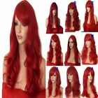 RED Long Wavy Straight Halloween Costume FULL WOMEN LADIES HAIR WIG Heat resist