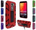 For LG Volt 2 LS751 Hip Vertical Hybrid Kickstand Cover Case