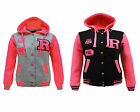 Unisex Girls Kids Teens New Plain Hooded R Hoodies Zip Fleece Jacket Top 5 -13