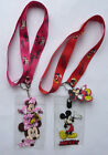 MINNIE MICKEY MOUSE LANYARD ID PASS HOLDER PINK RED padded charm NEW