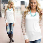 Fashion Womens Lace Floral Long Sleeve Round Neck Cotton Blouse Shirt Tops