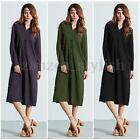 New Fashion Ladies Long Sleeve Casual Loose Cardigan Coat Split Tops Shirt Dress