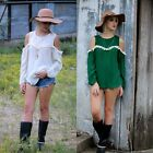 1x Womens Off Shoulder Long Sleeve Tops Loosen Chiffion Casual Shirt Blouse FKS