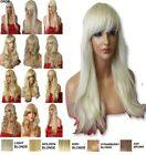 PALE BLONDE Long Wavy Straight FULL LADIES fancy dress haloween HAIR WIG #613L
