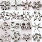 15-100PCS Carve Floral Tube Oval Shape Tibetan Silver Spacer Beads Connectors