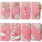 Luxury Handmade Pink Bling Diamond Flip Wallet Leather Case Cover For Cell Phone