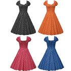 Vintage Retro Rockabilly Swing 50s Pinup Housewife Prom Party Polka Dot Dress
