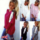 UK Sexy Womens Loose Casual Long Sleeve Batwing Shirt Tops Blouse Tee Top 6-14