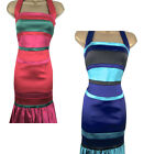KAREN MILLEN Signature Satin Halterneck Colourblock Pencil Dress Sz 6 8 10 12 14