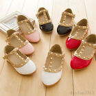 Girls Kids Rivet Buckle T-strap Flat Shoes Princess Evening Party Shoes Fashion
