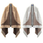 Womens Sleeveless Waterfall Faux Fur Fleece Poncho Jacket Cape Long Gilet