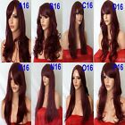 PLUM WINE Long Wavy Straight FULL WOMEN LADIES FASHION HAIR WIG Party #99J