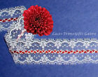 """3 Yds Lace Trim White Beading 1-1/2"""" Red Braid O11AV Added Items Ship No Charge"""