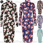 Womens Midi Dress Ladies Xmas Snowman Turtle Neck Penguin Bodycon Midi UK 8-22