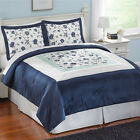 Collections Etc Abigail Embroidered Floral Sateen Comforter