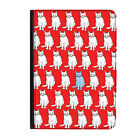 Red Cats Pattern Kittens Vintage Universal Tablet 7* Leather Flip Case Cover