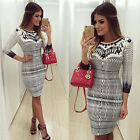 Sexy Dress Women's Print Slim Casual Bodycon Clubwear Evening Party Package Hip