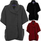 Women's Wrap Button Front Textured Cape PVC Trim Oversize Baggy Jacket 8-14