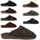 MENS DUNLOP MULES WARM FAUX LEATHER CASUAL SHOES PADDED SOCK COMFORT SLIPPERS