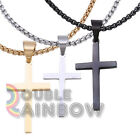 Men Stainless steel Plain Gold Silver Black Cross Pendant Necklace Chain Link#30