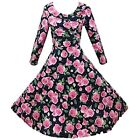 Hepburn Style Long Sleeve Pink  Black Floral Rockabilly Swing Prom Party Dress