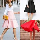 Retro Women Sexy A Line Flared Skater Skirt High Waist Party Midi Dress UK 6-14
