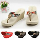 Women Bohemia Beach Sandals Wedge Platform Thongs Slippers Flip Flops Shoes