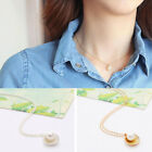 Girls Gold Silver Plated Shell Pearl Charm Pendant Chain Necklace Sweater Chain