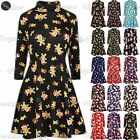 Womens Christmas Swing Dress Ladies Xmas Turtle Polo Roll Neck Skater Flared Top