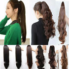 Long Claw Clip In Ponytail hair extensions black brown red blonde curly layered