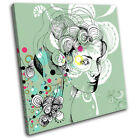 Floral Portrait Fashion Abstract SINGLE CANVAS WALL ART Picture Print VA