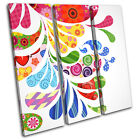 Drips Swirls Colourful Abstract TREBLE CANVAS WALL ART Picture Print VA