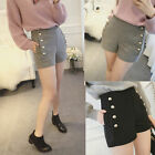 Fashion Womens Slim Fit Wool Blend Shorts Double Sides Button Thick Short Pants