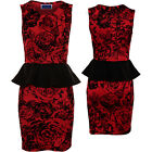 Women's Floral Embossed Glitter Velvet Sleeveless Flock Bodycon Peplum Dress