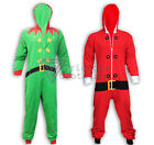 Christmas Onesie Elf Santa All In One pj's Santas Helper Hood Gift Xmas Lounge