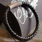 6mm Mens Genuine Leather Wristband Bracelet Silver Plated Clasp
